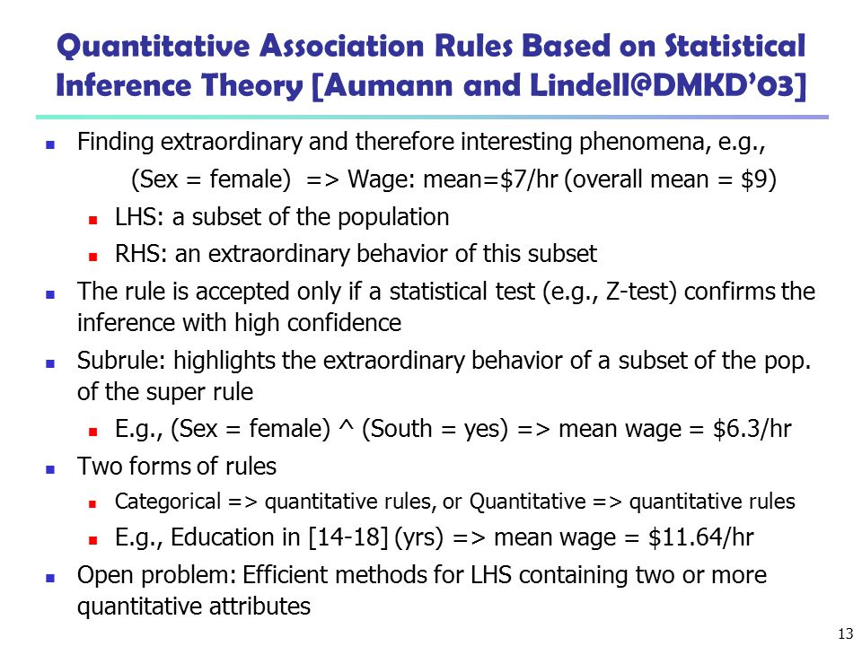 Quantitative Association Rules Based on Statistical Inference Theory [Aumann and Lindell@DMKD'03]